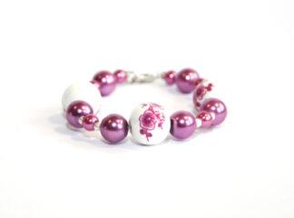 Pärlarmband rosa vita glaspärlor
