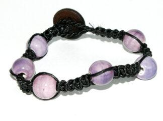 Makraméarmband svart lila