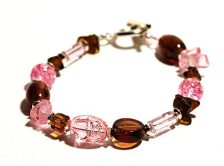 Pärlarmband rosa bruna