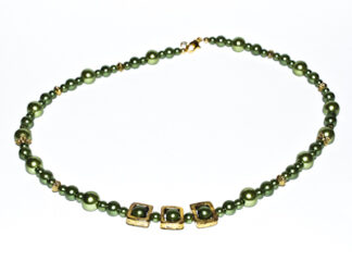 Halsband gröna glaspärlor guldfärgade