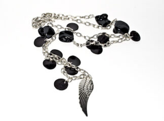 Halsband silverpläterad svarta snäckskalspärlor