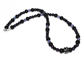Halsband svarta lila glaspärlor