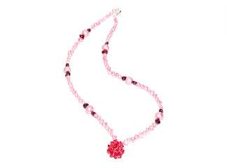 Halsband rosa sötvattens Swarovskipärlor