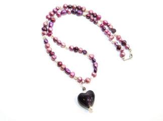 Halsband rosa lila vita