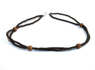 Halsband bruna träpärlor