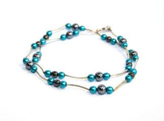 Halsband blå grå glaspärlor