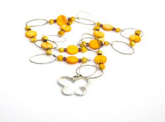 Halsband gula lila glaspärlor
