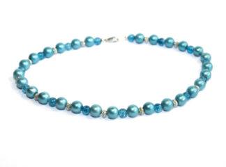 Halsband blå glaspärlor