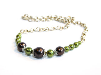 Halsband gröna bruna glaspärlor