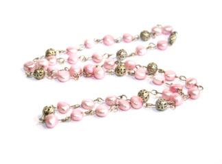 Halsband rosa sötvattenspärlor filigranpärlor