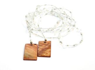 Långt halsband transparenta bruna