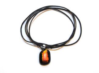 Halsband svart orange glashänge