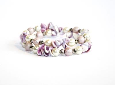 Tvåradigt pärlarmband rosa vita