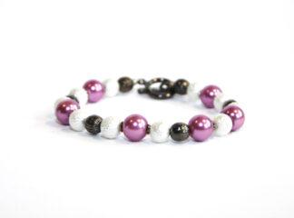 Pärlarmband vita rosa