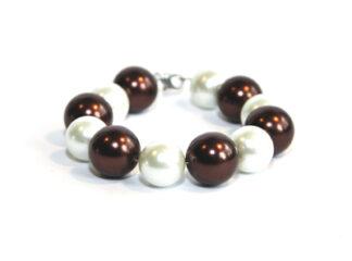Pärlarmband vita bruna