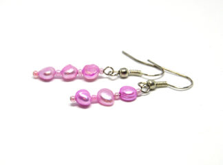 Örhängen rosa sötvattenspärlor
