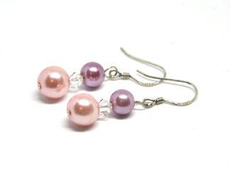 Örhängen rosa glaspärlor