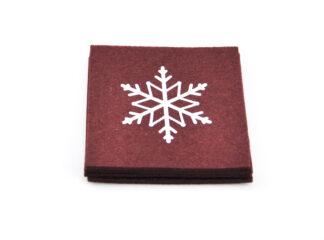 Rött underlägg snöflingetryck