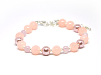 Pärlarmband rosa vita silverfärgad