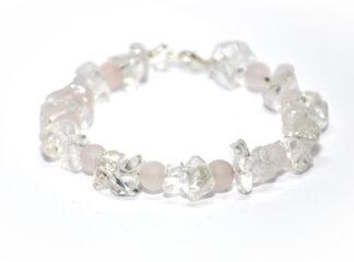 Armband bergskristall rosenkvarts