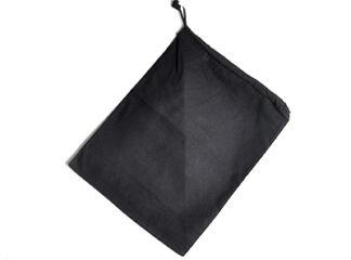 Tygpåse i svart bomullstyg med dragsko